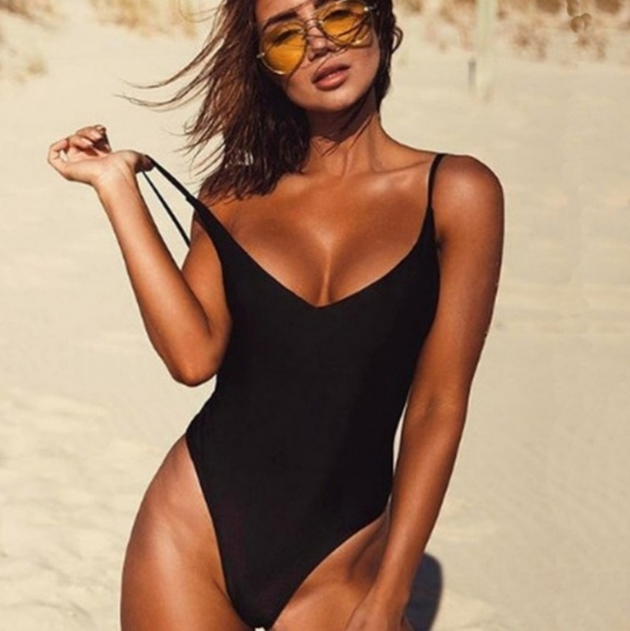 efe73bdc9dd52 Sexy black V neck one piece bathing suit